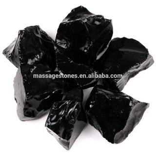 Natural Black Obsidian Fine Rough Stone For Gifts Wholesale