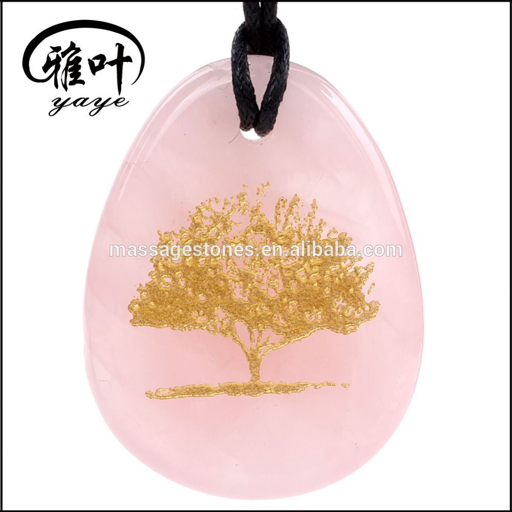 Engraved Tree Of Life Pendant Natural Rose Quartz Stone