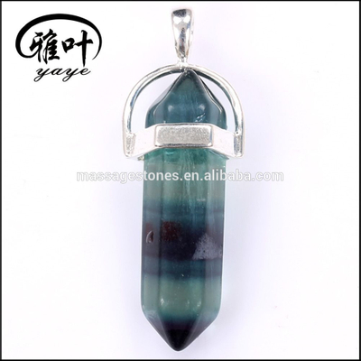 High Quality Semi-precious Stone Healing Fluorite Crystal Point Pendants