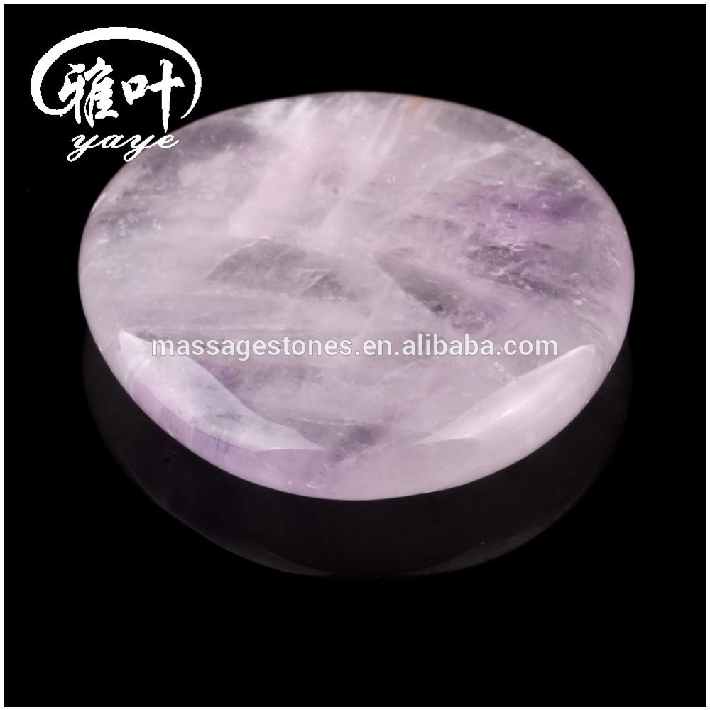 Natural Amthyst Reiki Healing Worry Stone For Thumb Massage