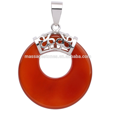 Wholesale Natural semi precious stone Donut Pendant