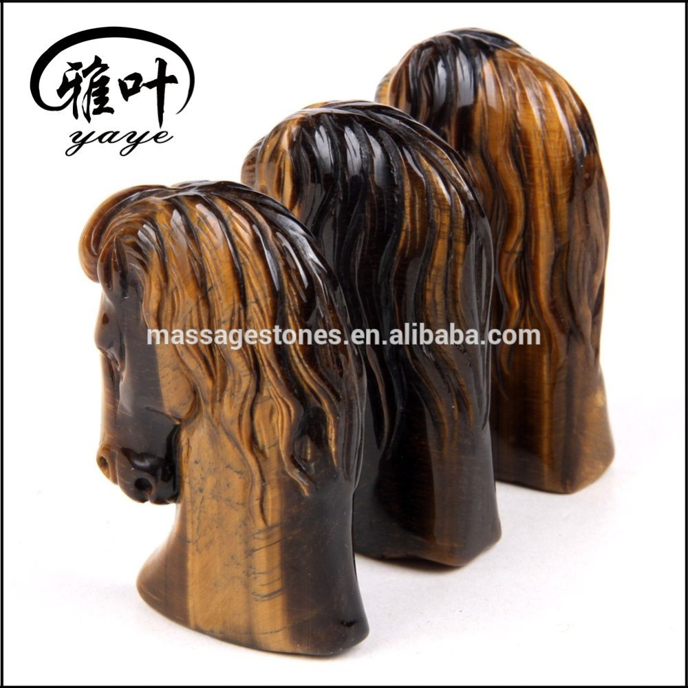 Whoelsale Yellow Tiger Eye Horse Head Carving