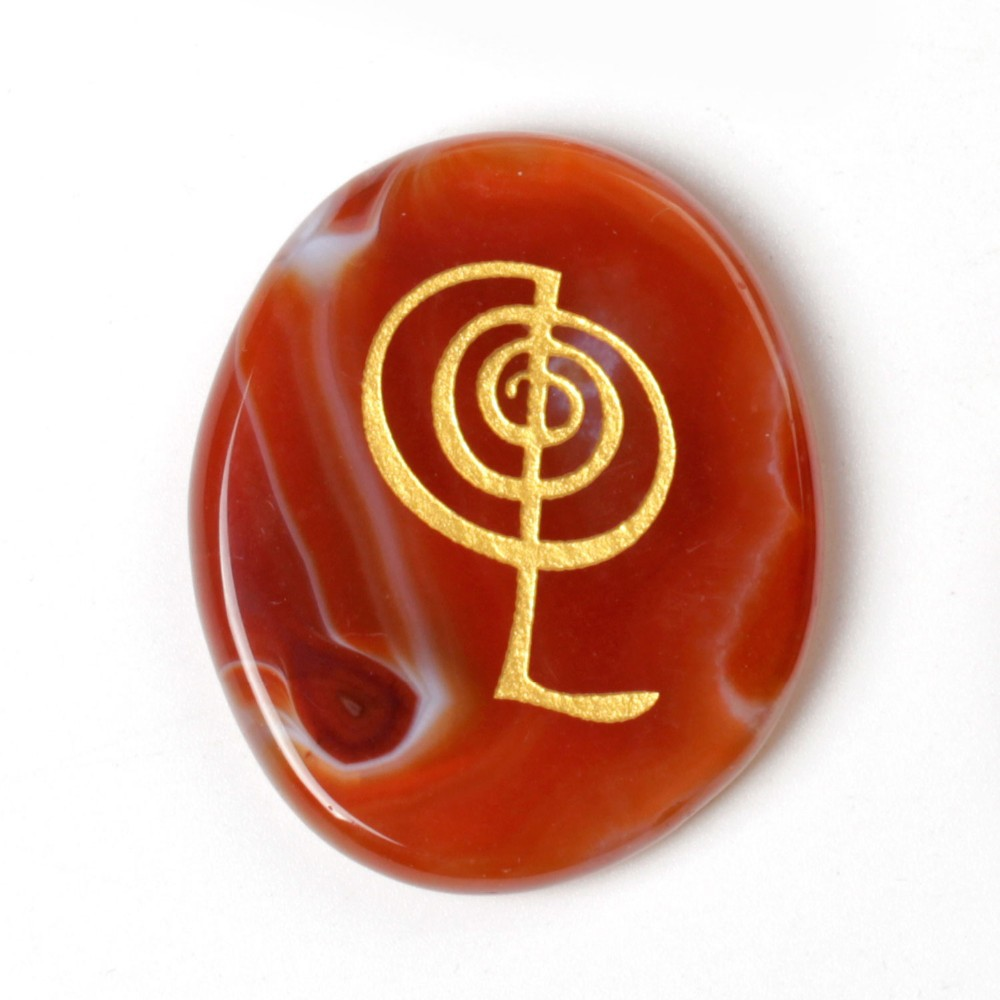 Engraved Palm Stones with Reiki Symbol Sold By4pcs Reiki Healing (carnelian)