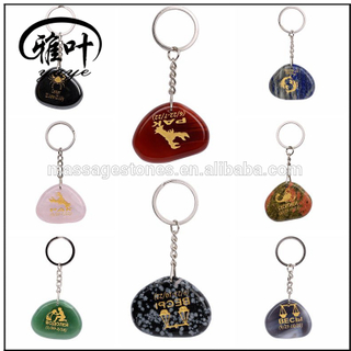 Wholesale Engraved personalized zodiac sign gemstone key chains
