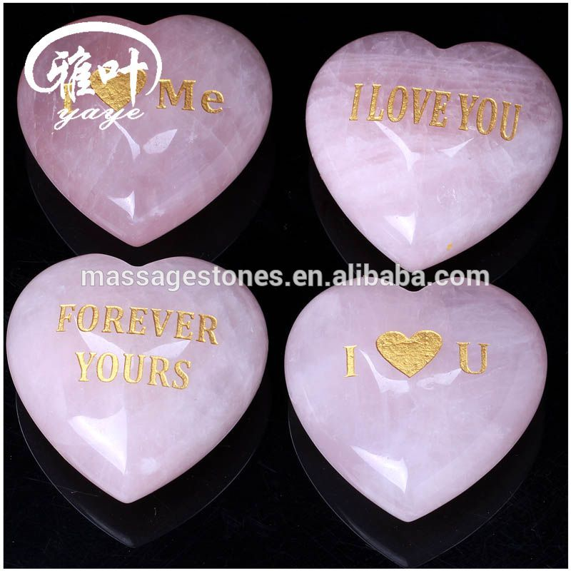 Wholesale Natural Rose Crystal Quarzt Engraved Words Heart Shape Stone