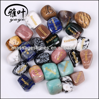 Natural Gemstones Engraved Tumbled Stones for Gifts