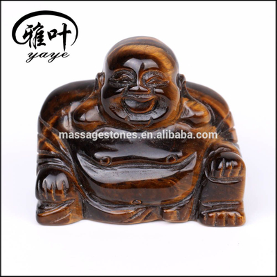Natural Semi Precious Yellow Tiger Eye Laughing Buddha Carving