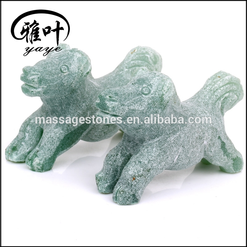 Unpolished Rough Green Aventurine Puppy Dog Statues Stones Statues
