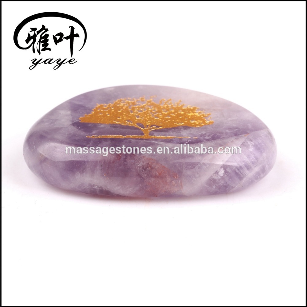 Natural Amethyst Engraved Tree of Life Palm Stone For Wholesale