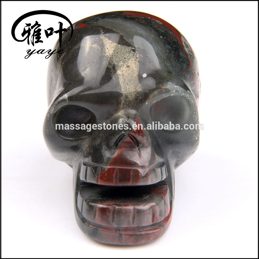 Wholeale carved open mouth African Blood stone skull